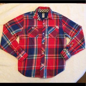 Guess Kids Plaid Button Down Shirt Boys Size 10/12